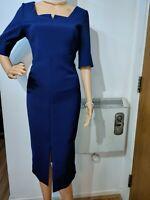 NEW L.K BENNETT DRESS DR LANDER SIZE UK 12 US 8 BLUE 38% POLYAMIDE 57% ACRYLIC