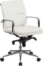 Lot Of 12 Mid Back White Leather Conference Table Chair Synchrotilt Mechanism