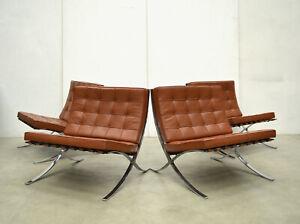 2x VINTAGE Mies v. d. Rohe BARCELONA Chair LEDER Cognac KNOLL Sessel