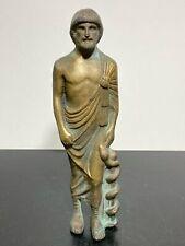 Vintage Signed Greek God Bronze Mythological Asclepius Art Statue Figurine