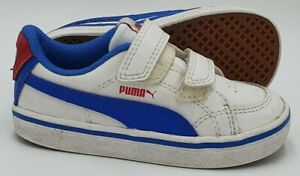 Puma Low Leather Trainers 357680 15 White/Blue/Red UK6/US7C/EU23