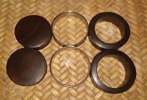 (3) Organic Wood and Steel Ear Plugs 42mm/44mm/48mm