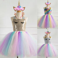 2PCS Girls Unicorn Tutu Dress Headband Birthday Party Pageant Sequins Dresses