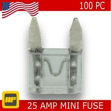 100 Pack APM ATM Mini Blade Fuse 25Amp Marine SUV Truck Auto RV Automotive AUDIO