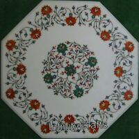 24 x 24 Inches Marble Center Table Top with Marquetry Art White Coffee Table
