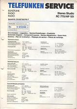 Telefunken Service Anleitung Manual Radio Stereo Studio RC 770/HP 101 B486