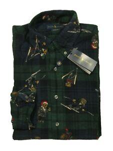 Polo Ralph Lauren Men's Blackwatch Ski Holiday Bears Corduroy Button Front Shirt