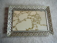 Vintage Retro Gold Tone Filigree Vanity Tray with Marbelized Mirror - 9.5 x 13.5