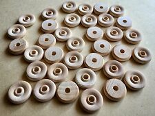 100 x Small Wooden Wheels 19mm - Bulk Plain Unfinished Wood Bird Toy Craft Parts