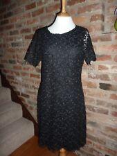Gorgeous Vintage Black Lace Cocktail Dress size UK 12 50's 60's Style XMAS PARTY