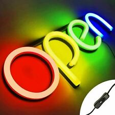 Led Neon Open Sign Light for Business with On & Off Switch Red Yellow Green Blue
