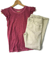 Justice Abercrombie Girls Size 12-14 Outfit Sand Skinny Jeans and Flutter Top