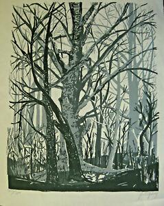 Jo Stripling (1928-2012) Lithograph of Trees Signed 326/1000 C.1971 LeMoyne Fdn