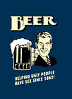 """BEER Helping Ugly people A2 CANVAS PRINT Art Poster BLUE 18""""X 24"""""""