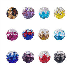 100 Pcs Two-Tone Color Handmade Polymer Clay Disco Ball Beads 9~10mm Hole 2mm
