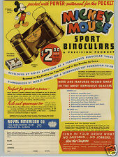 1947 PAPER AD Mickey Mouse Sport Binoculars Royal American Donald Duck Scissors