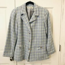 Appleseeds Career Blazer Size 12 Blue Tweed Plaid Fully Lined