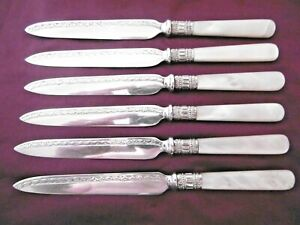LOVELY SET OF 6 SILVER PLATED EPNS MOP MOTHER OF PEARL HANDLE DESSERT KNIVES