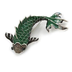 Enamel Koi Fish Brooch In Silver Tone/ Green/ Grey - 75mm Long - Large
