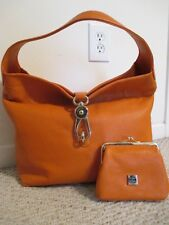 Dooney & Bourke Toscana ? Logo Lock Hobo Handbag Orange Pebbled Leather Set