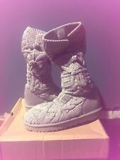 UGG Kalla Seal Grey Cable Knit Fur Boots Womens Size 9