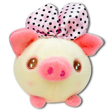 Yellow Pig W/ Big Pink Bow Round Soft Plush Stuffed Animal Keychain Suction Cup
