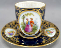 Richard Klemm Dresden Hand Painted Courting Couple Cobalt & Gold Demitasse Cup A