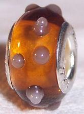 Amber Brown Gray Polka Dot Murano Glass Bead for Silver European Charm Bracelet