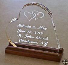 Wedding Cake Topper Custom Engraved Bride Heart  Groom