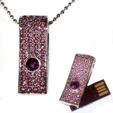 Chiavetta USB 16 GB ROSA VIOLA NOBILE gioiello ciondolo catena CLE FLASH ROSA