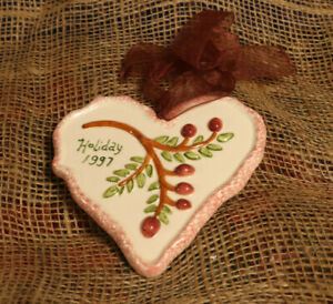 Holiday 1997 Bath and Body Works Heart Ceramic Ornament