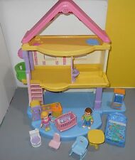 Fisher Price Mattel 2005 Doll House My First Home with Dolls & Furniture #J0236