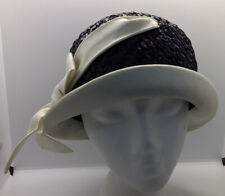 New listing Vintage 1940's Lilly Dache Debs Designer Paris New York Black Straw White Ribbon