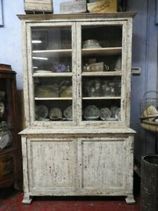 Original Antique Cupboard Showcase From '800 French Lacquer White Chalk