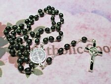 6 x 9 mm Black Wooden Saint Benedict Rosary -