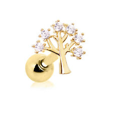 Gold Plated Tree of Life CARTILAGE EAR Bar Barbell Earring Ring Piercing Jewelry