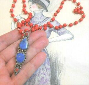 Collier sautoir ancien Ethnique vintage argent corail lapis lazuli