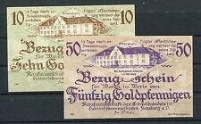 Flensburg 10 + 50 Goldpfennig Kaufmannschaft des Einzelhandels ( I )