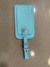 TIFFANY & CO BLUE LEATHER WITH METAL BUCKLE LUGGAGE TAG. MINT CONDITION