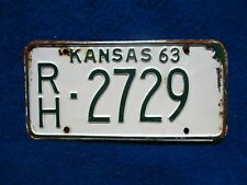 Vintage Original KANSAS 1963 RH 2729 License VEHICLE Tag Man Cave Reissue.