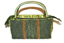 LADIES GREEN BEADED SILKY HANDBAG AND MATCHING SILK SCARF