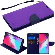 Samsung Galaxy S10 5G Leather Folio Flip Wallet Phone Case Cover w/ Strap PURPLE