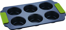 Bergner 6 Cup Non Stick Muffin Tray Steel With Silicone Handle Premium Quality