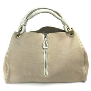 BOTTEGA VENETA 192947 One handle Hand Bag Tote Bag Canvas x Leather Beige