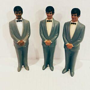 Vintage Lot 3 Grooms Men Cake Toppers White Caucasian White Wedding Decor