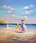 1800s Mother And Daughter Family Beach Sand Ocean 20X24 Oil Painting STRETCHED