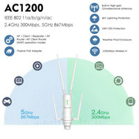AC1200Mbps WIFI Outdoor Repeater Wireless Booster 2.4/5GHz Router POE WAN&LAN AP