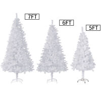 5/6/7/8Ft Christmas Tree White/Snow Flocked W/Metal Stand Xmas Holiday Season