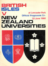 BRITISH ISLES v NEW ZEALAND UNIVERSITIES 22nd JUNE 1966 RUGBY PROGRAMME