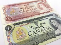 1973 1974 Canada 1 One 2 Two Dollar Uncirculated Lawson Bouey Banknotes Set R363